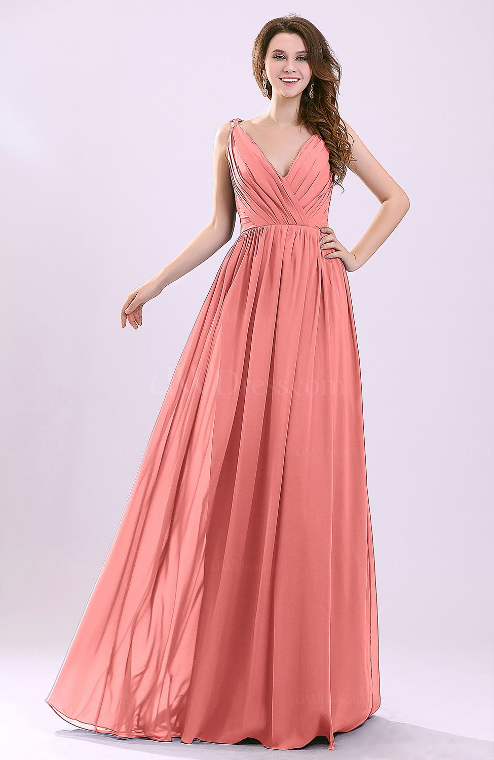 Coral modern a line sleeveless zipper chiffon ruching for Modern wedding guest dresses