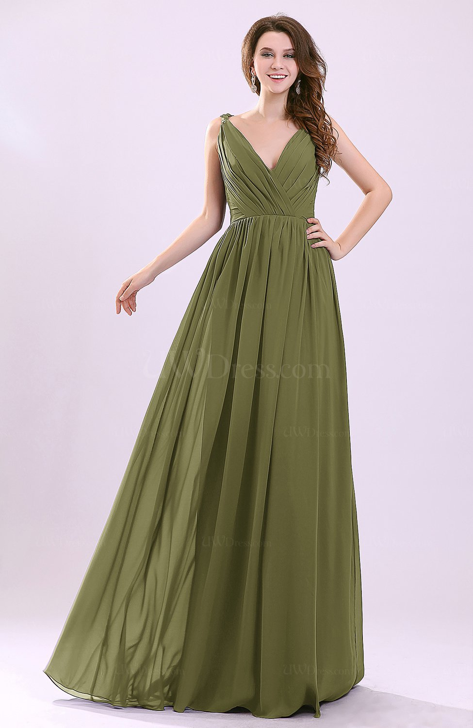 Olive green modern a line sleeveless zipper chiffon for Olive green wedding dresses