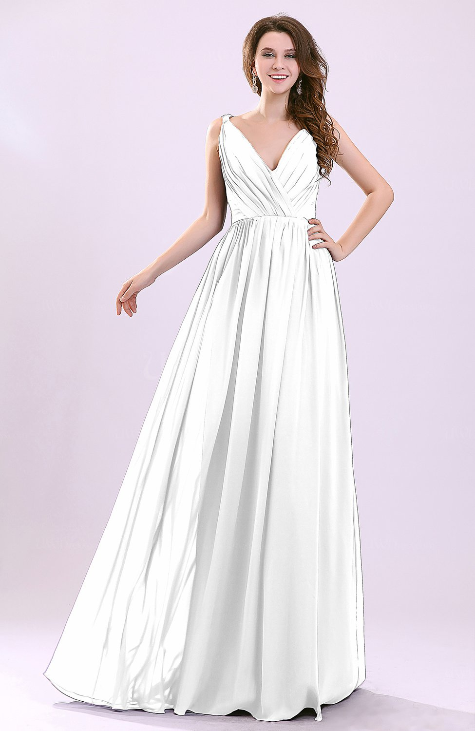 White modern a line sleeveless zipper chiffon ruching for Modern wedding guest dresses