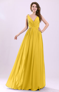 Yellow Modern A-line Sleeveless Zipper Chiffon Ruching Wedding Guest Dresses