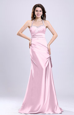 Blush Sexy A-line Sleeveless Backless Silk Like Satin Evening Dresses