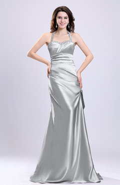 Silver Sexy A-line Sleeveless Backless Silk Like Satin Evening Dresses