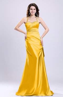 Yellow Sexy A-line Sleeveless Backless Silk Like Satin Evening Dresses