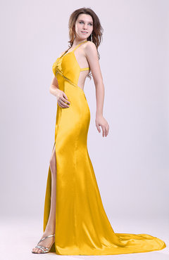 Yellow Gorgeous Sheath Thick Straps Sleeveless Criss-cross Straps Court Train Prom Dresses