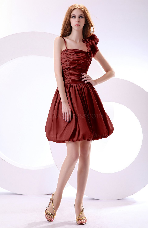 Burgundy cute a line spaghetti sleeveless taffeta short for Burgundy dress for wedding guest