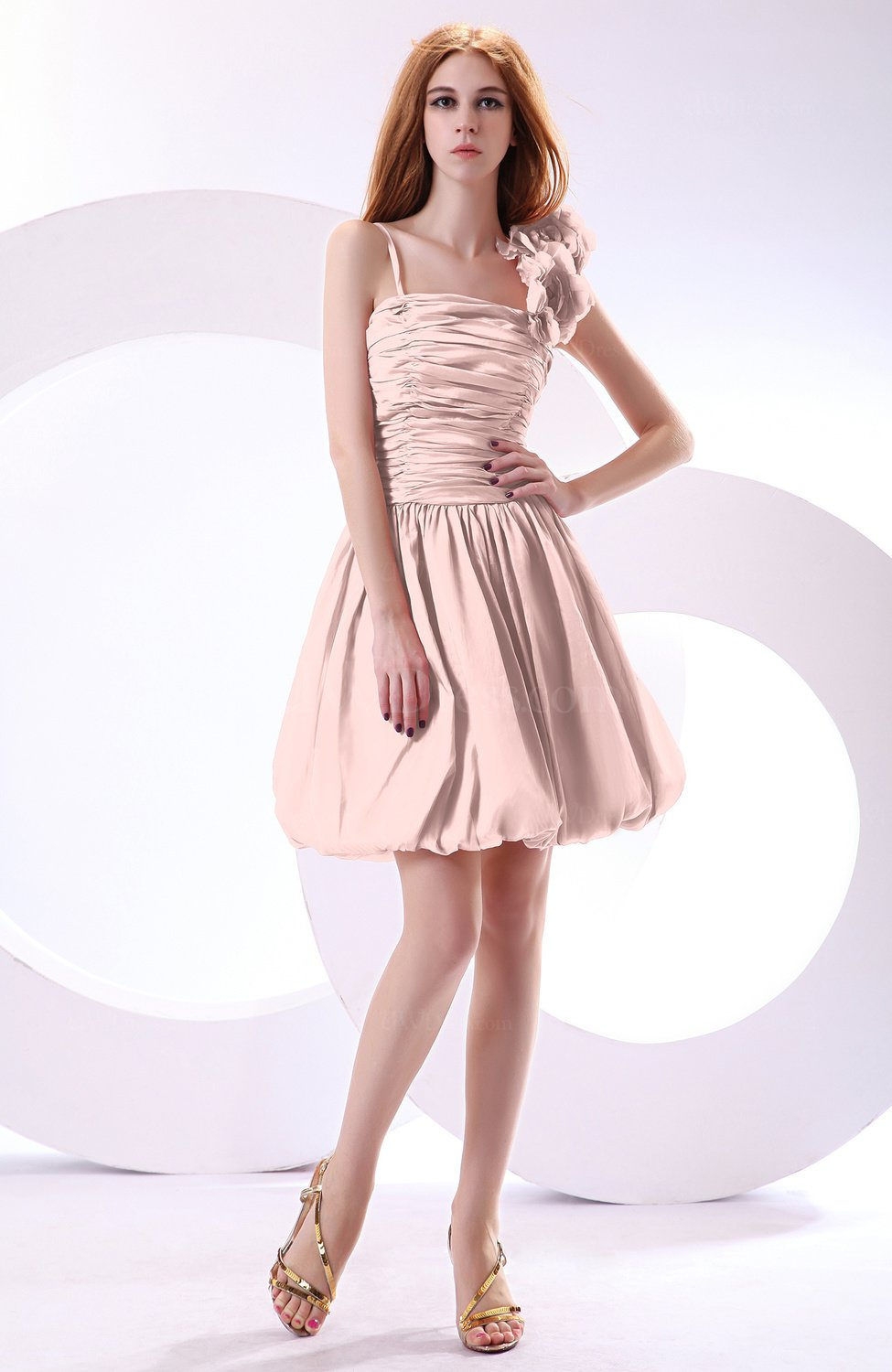 Coral pink cute a line spaghetti sleeveless taffeta short for Cute short wedding dresses