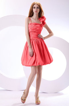 Coral Cute A-line Spaghetti Sleeveless Taffeta Short Wedding Guest Dresses