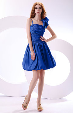 Electric Blue Cute A-line Spaghetti Sleeveless Taffeta Short Wedding Guest Dresses