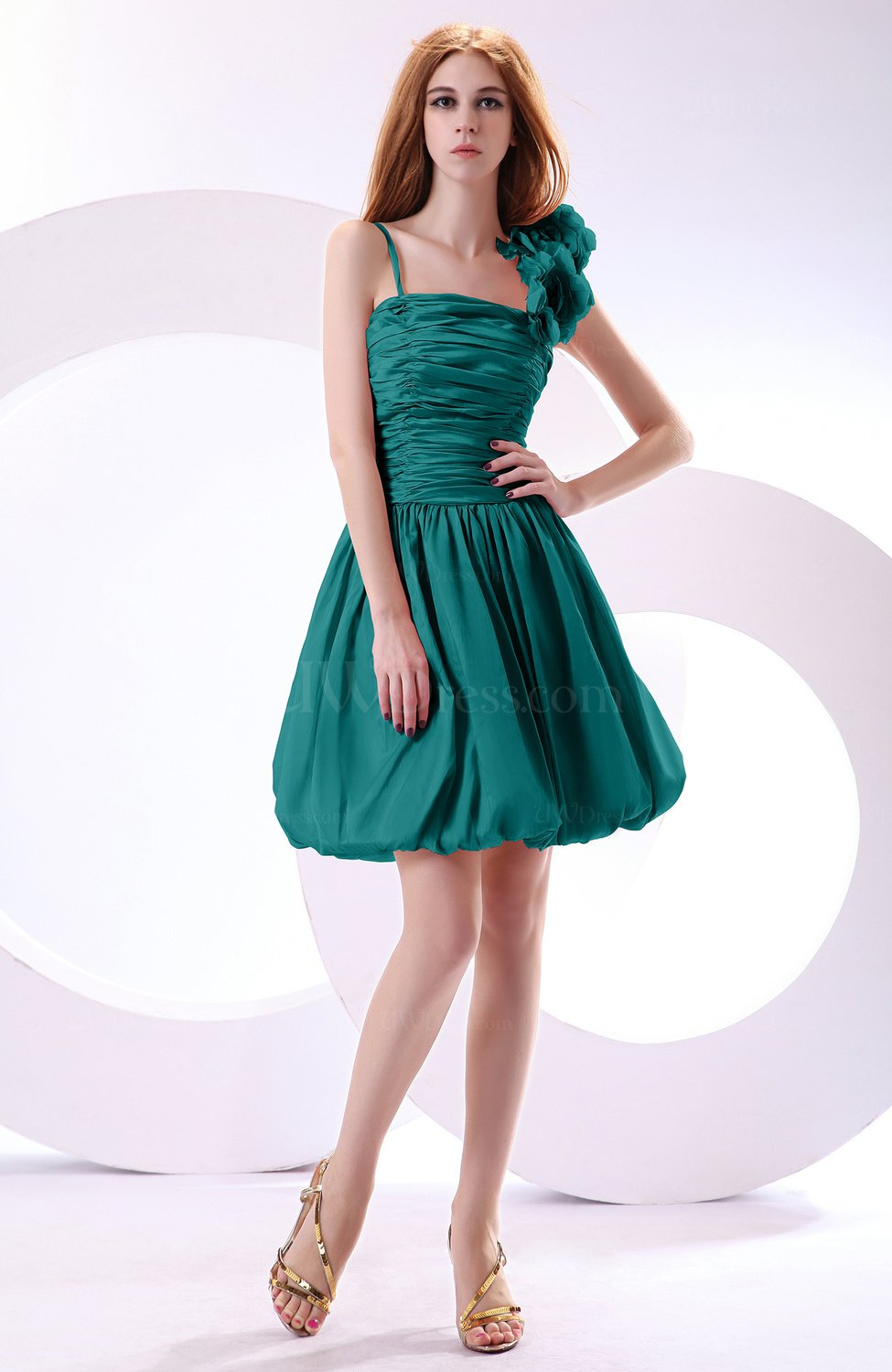 Emerald green cute a line spaghetti sleeveless taffeta for Emerald green dress wedding guest