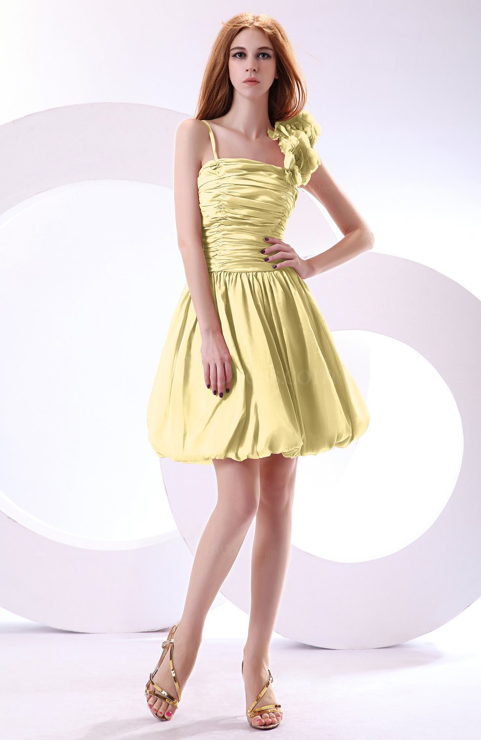 Light yellow cute a line spaghetti sleeveless taffeta for Yellow dresses for wedding guests