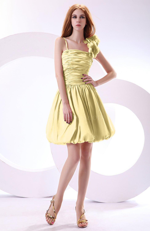 Light Yellow Cute A-line Spaghetti Sleeveless Taffeta Short Wedding ...