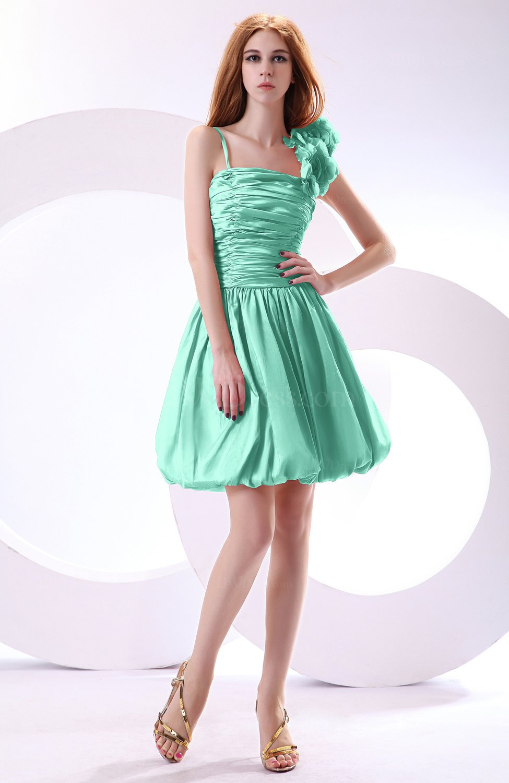 Mint Green Cute A-line Spaghetti Sleeveless Taffeta Short Wedding ...