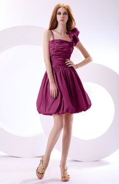 Raspberry Cute A-line Spaghetti Sleeveless Taffeta Short Wedding Guest Dresses