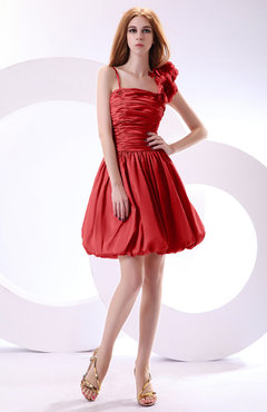Red Cute A-line Spaghetti Sleeveless Taffeta Short Wedding Guest Dresses
