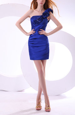 Electric Blue Gorgeous Column Asymmetric Neckline Sleeveless Zipper Satin Party Dresses