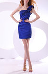 Gorgeous Column Asymmetric Neckline Sleeveless Zipper Satin Party Dresses