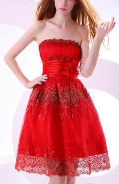Red Gorgeous A-line Zipper Organza Knee Length Bridesmaid Dresses
