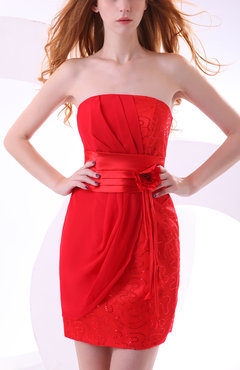 Red Gorgeous Column Strapless Sleeveless Chiffon Flower Bridesmaid Dresses