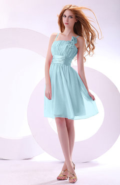 Aqua Plain A-line Sleeveless Zip up Chiffon Bridesmaid Dresses