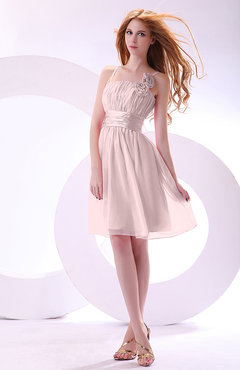 Blush Plain A-line Sleeveless Zip up Chiffon Bridesmaid Dresses