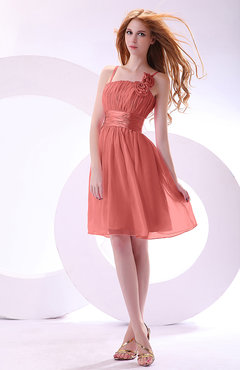 Coral Plain A-line Sleeveless Zip up Chiffon Bridesmaid Dresses