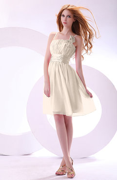 Cream Plain A-line Sleeveless Zip up Chiffon Bridesmaid Dresses