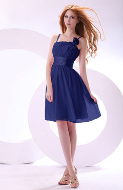Electric Blue Plain A-line Sleeveless Zip up Chiffon Bridesmaid Dresses
