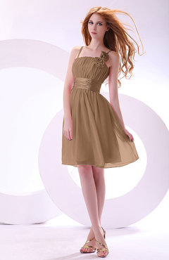 Light Brown Plain A-line Sleeveless Zip up Chiffon Bridesmaid Dresses