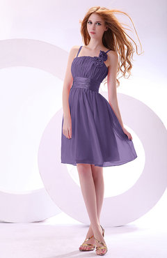 Lilac Plain A-line Sleeveless Zip up Chiffon Bridesmaid Dresses