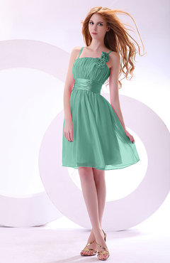 Mint Green Plain A-line Sleeveless Zip up Chiffon Bridesmaid Dresses