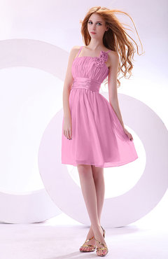 Pink Plain A-line Sleeveless Zip up Chiffon Bridesmaid Dresses