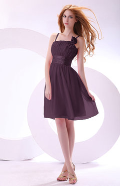 Plum Plain A-line Sleeveless Zip up Chiffon Bridesmaid Dresses