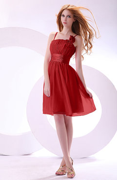 Red Plain A-line Sleeveless Zip up Chiffon Bridesmaid Dresses