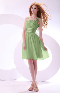 Sage Green Plain A-line Sleeveless Zip up Chiffon Bridesmaid Dresses