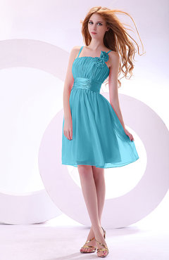 Turquoise Plain A-line Sleeveless Zip up Chiffon Bridesmaid Dresses