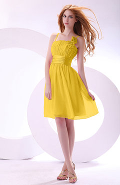 Yellow Plain A-line Sleeveless Zip up Chiffon Bridesmaid Dresses