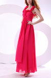 Simple Sleeveless Zipper Chiffon Draped Prom Dresses