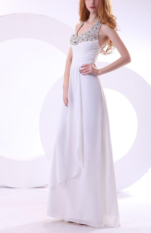White modest beach halter sleeveless backless chiffon for Backless chiffon wedding dress