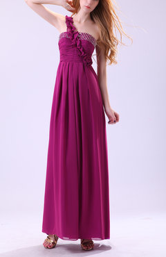 Raspberry Elegant A-line Asymmetric Neckline Sleeveless Floor Length Pleated Evening Dresses