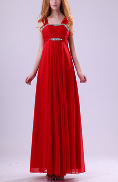 Red Elegant Thick Straps Sleeveless Chiffon Ankle Length Ruching Party Dresses