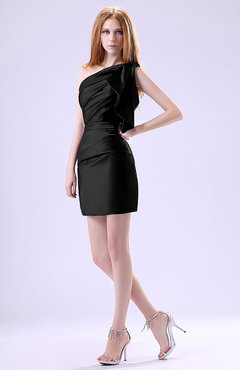 Black Modest Asymmetric Neckline Sleeveless Zipper Ruffles Club Dresses