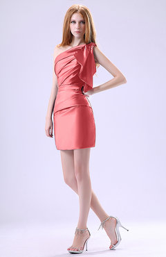 Coral Modest Asymmetric Neckline Sleeveless Zipper Ruffles Club Dresses