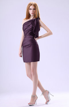Plum Modest Asymmetric Neckline Sleeveless Zipper Ruffles Club Dresses