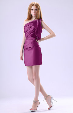 Raspberry Modest Asymmetric Neckline Sleeveless Zipper Ruffles Club Dresses