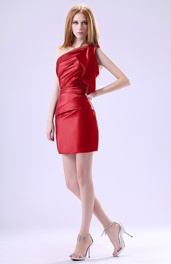 Red Modest Asymmetric Neckline Sleeveless Zipper Ruffles Club Dresses
