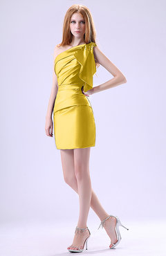 Yellow Modest Asymmetric Neckline Sleeveless Zipper Ruffles Club Dresses