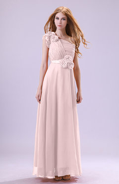 Blush Elegant Zipper Chiffon Floor Length Ruching Bridesmaid Dresses