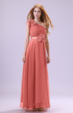 Coral Elegant Zipper Chiffon Floor Length Ruching Bridesmaid Dresses