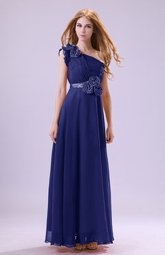 Electric Blue Elegant Zipper Chiffon Floor Length Ruching Bridesmaid Dresses