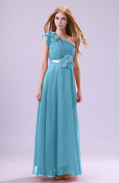 Light Blue Elegant Zipper Chiffon Floor Length Ruching Bridesmaid Dresses